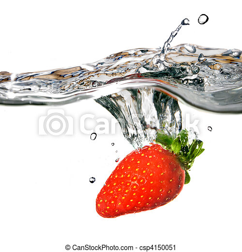 Fresh strawberry dropped into water with splash isolated on white - csp4150051