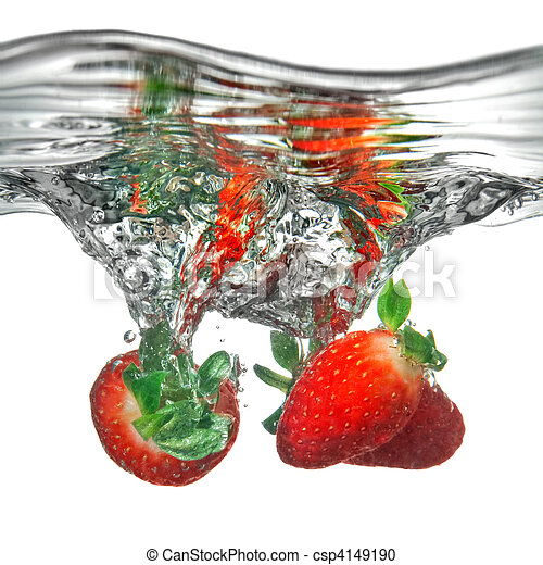 Fresh strawberry dropped into water with splash isolated on white - csp4149190