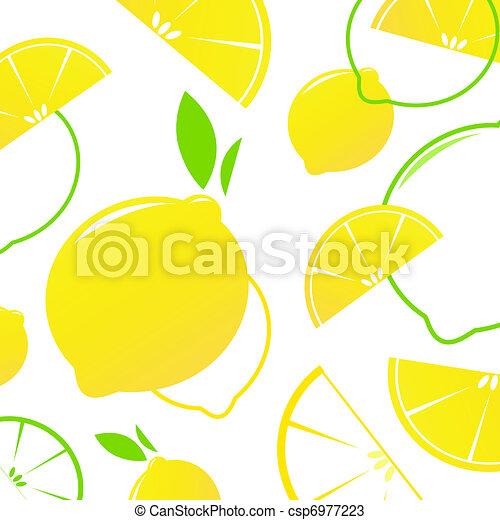 Fresh stylized Fruit - Lemon slices isolated on white. Vector Background.  - csp6977223