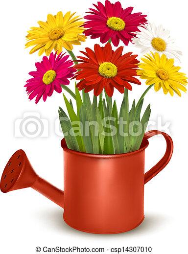 Fresh summer flowers in orange watering can. Vector illustration. - csp14307010