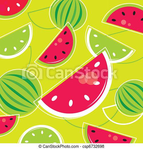Fresh Summer Melon retro background / pattern - pink and green  - csp6732698