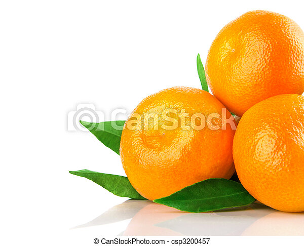 fresh tangerine fruits with green leaves isolated - csp3200457