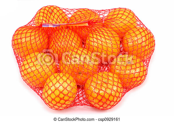 Fresh tangerines in a netted bag - csp0929161