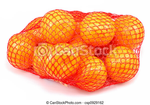 Fresh tangerines in a netted bag - csp0929162