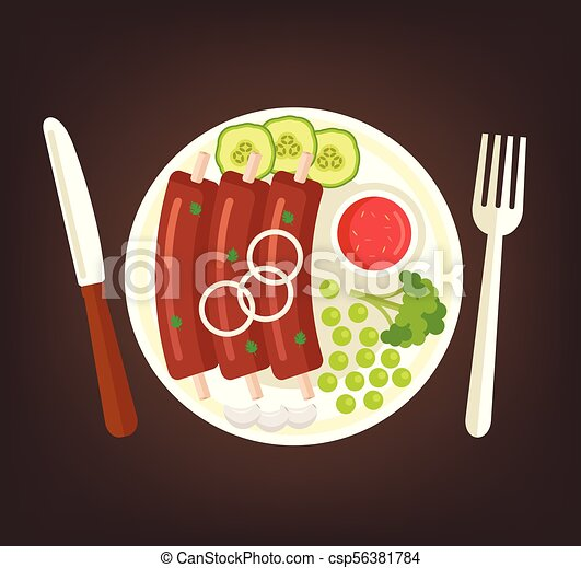Fresh tasty grilled roasted rib with vegetables cucumber broccoli and red sauce on plate. Cooking meat dish culinary top view concept. Vector flat graphic design cartoon illustration - csp56381784