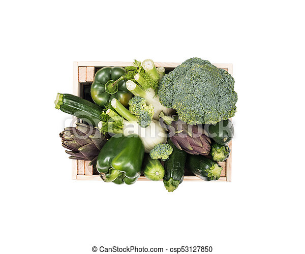 Fresh tasty vegetables in a wooden crate - csp53127850