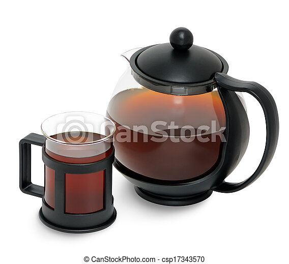 Fresh tea of birch chaga mushroom ( Inonotus obliquus ) - csp17343570