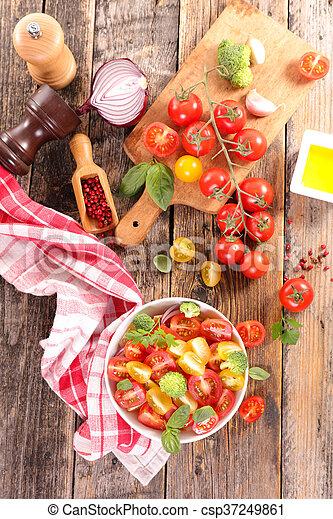 fresh tomato salad with basil - csp37249861