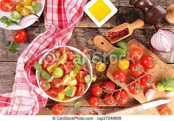 fresh tomato salad with basil - csp37249808