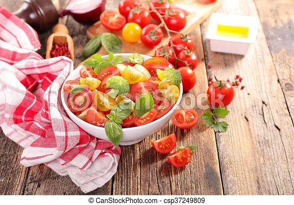 fresh tomato salad with basil - csp37249809