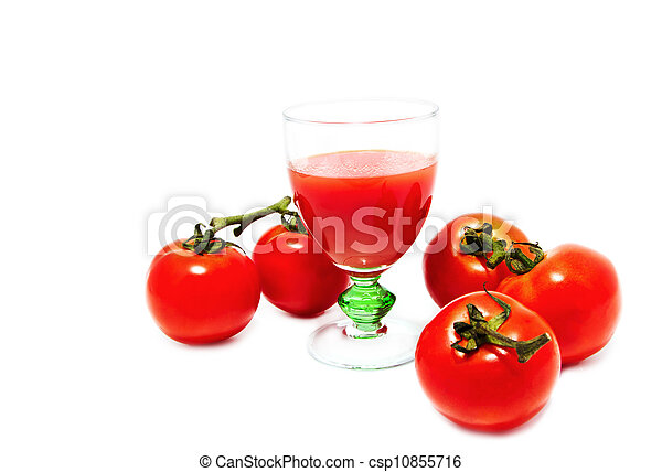 Fresh tomatoes and a glass of tomato juice - csp10855716