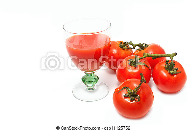 Fresh tomatoes and a glass of tomato juice, for good health - csp11125752
