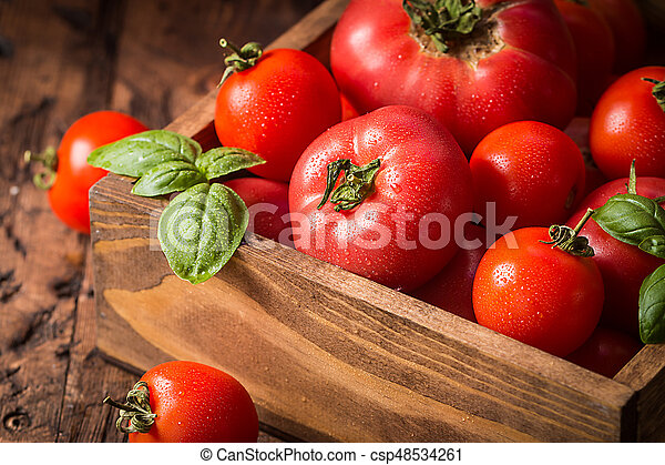 fresh tomatoes in a wooden crate - csp48534261