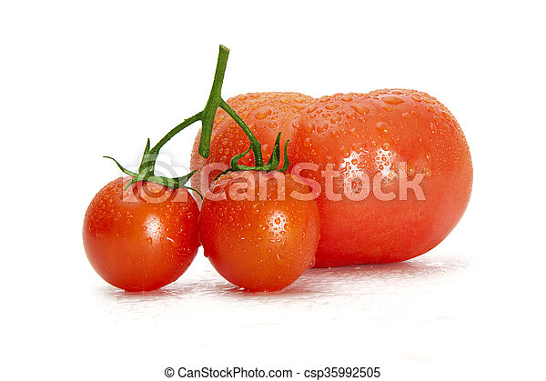 Fresh tomatoes on a green stem isolated on white background. Close-up, side view - csp35992505