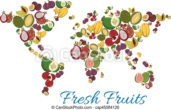 Fresh tropical exotic fruits in shape of world map exotic fresh tropical exotic fruits in shape of world map vector gumiabroncs Gallery