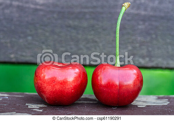 Fresh two sweet cherries on a wooden bench background. fresh ripe cherries. 2 cherries in the open air on the background - csp61190291