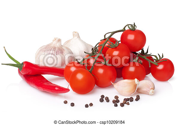 Fresh vegetable (bunch of fresh cherry tomato, garlic, capsicum, pepper) - csp10209184