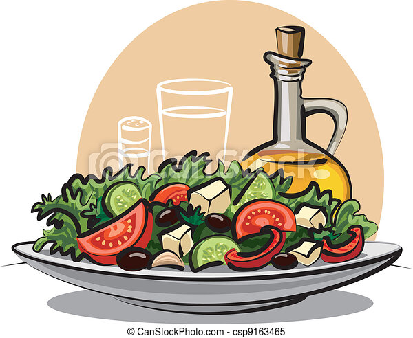 fresh vegetable salad and olive oil - csp9163465