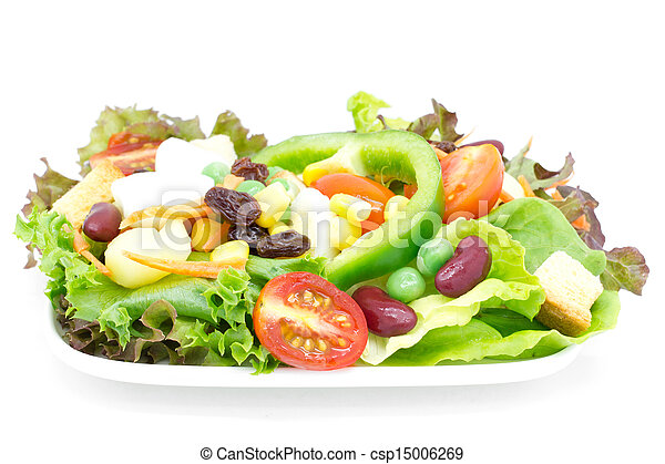 Fresh vegetable salad isolated on white - csp15006269