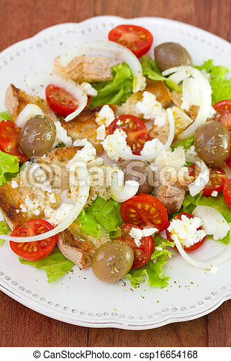 fresh vegetable salad on plate - csp16654168