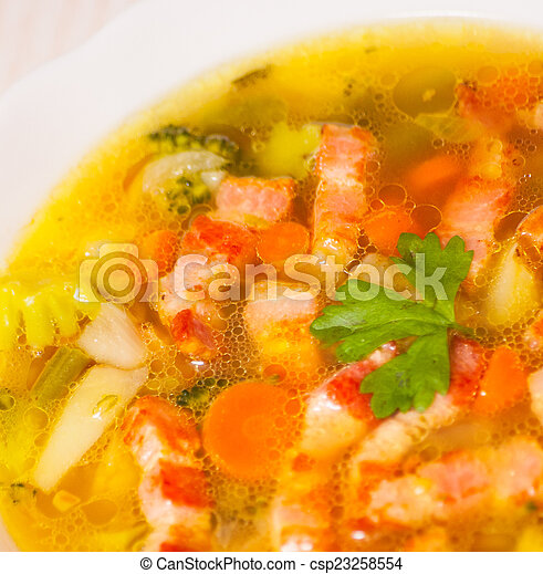 Fresh vegetable soup with meat - csp23258554