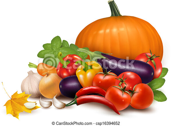 Fresh vegetable with leaves. Healthy Eating. Vector illustration - csp16394652