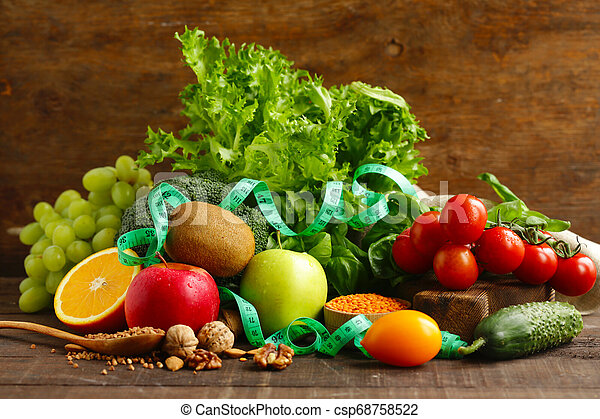 fresh vegetables and fruits for healthy eating - csp68758522