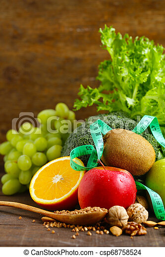 fresh vegetables and fruits for healthy eating - csp68758524