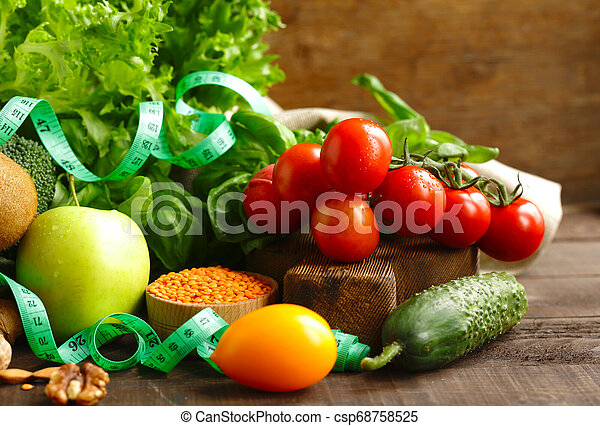 fresh vegetables and fruits for healthy eating - csp68758525