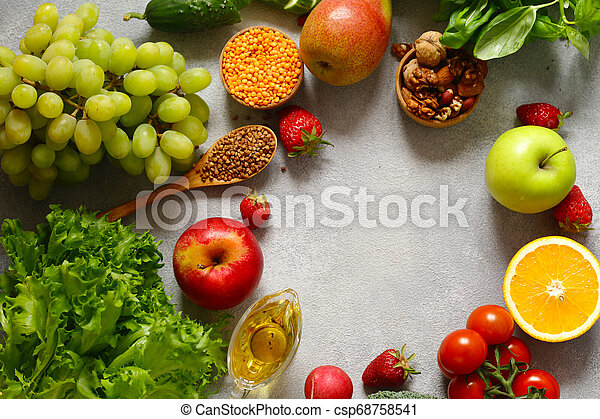 fresh vegetables and fruits for healthy eating - csp68758541