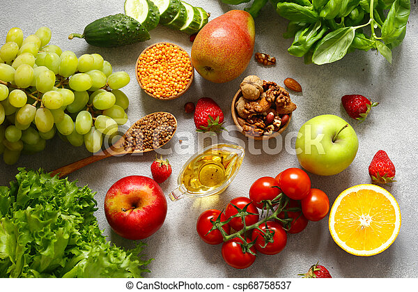 fresh vegetables and fruits for healthy eating - csp68758537