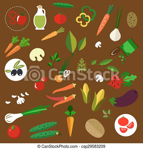 Fresh vegetables and herbs flat icons - csp29583209