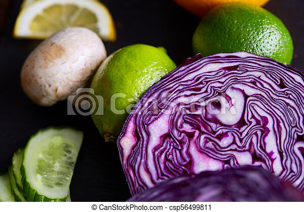 Fresh vegetables background, shallow depth of field, selective focus, close-up - csp56499811