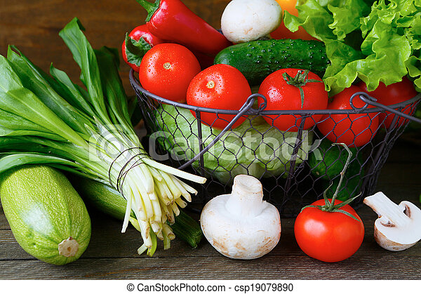 fresh vegetables in a basket - csp19079890