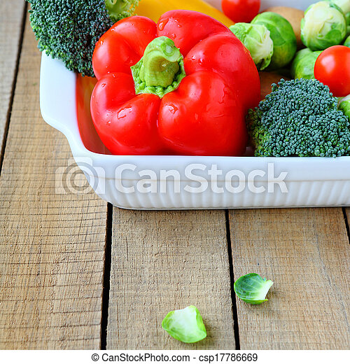 fresh vegetables in a gratin dish - csp17786669