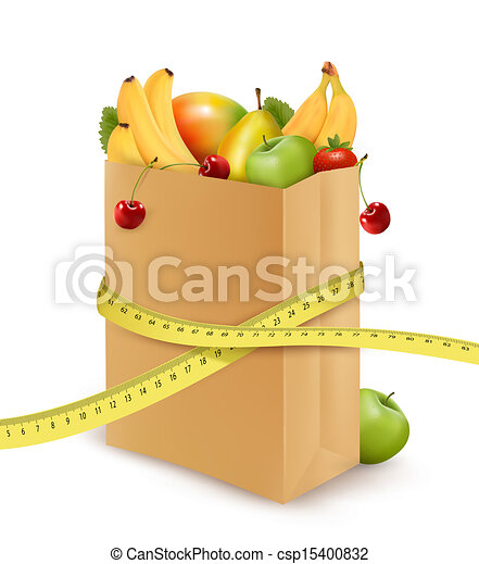 Fresh vegetables in a paper grocery bag with measuring tape. Concept of diet. Vector - csp15400832
