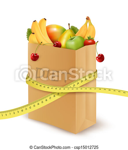 Fresh vegetables in a paper grocery bag with measuring tape. Concept of diet. Vector  - csp15012725