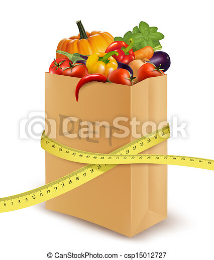 Fresh vegetables in a paper grocery bag with measuring tape. Concept of diet. Vector  - csp15012727