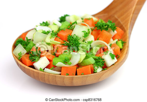 Fresh vegetables in a wooden spoon - csp8316768