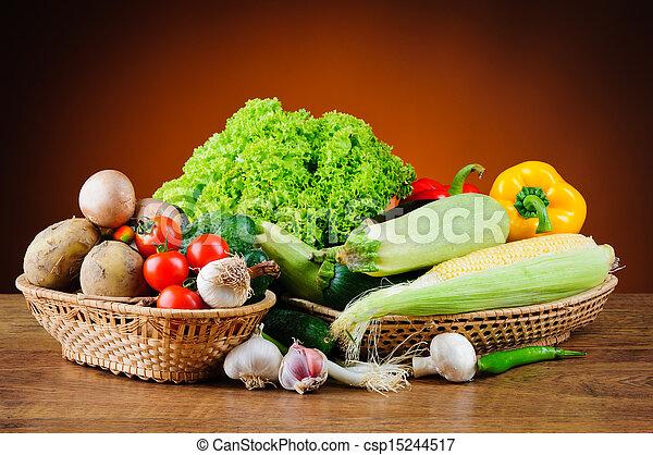 Fresh vegetables in basket - csp15244517