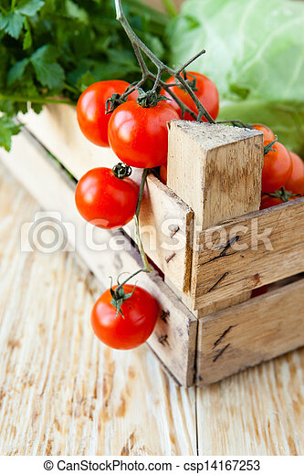 fresh vegetables in wooden crate - csp14167253