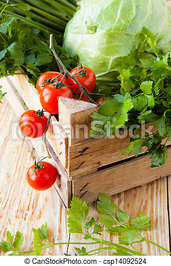 fresh vegetables in wooden crate - csp14092524