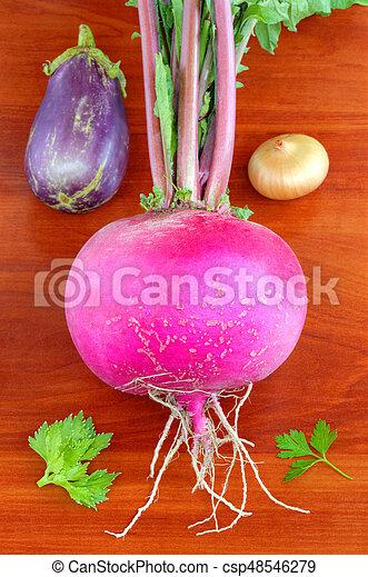 Fresh vegetables on wooden background - csp48546279