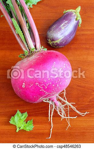 Fresh vegetables on wooden background - csp48546263