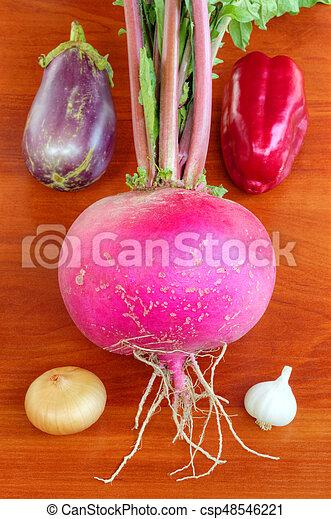 Fresh vegetables on wooden background - csp48546221
