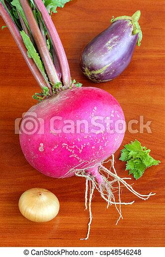 Fresh vegetables on wooden background - csp48546248
