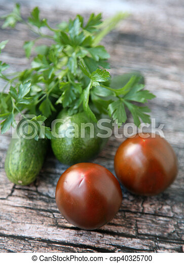 Fresh vegetables on wooden background - csp40325700