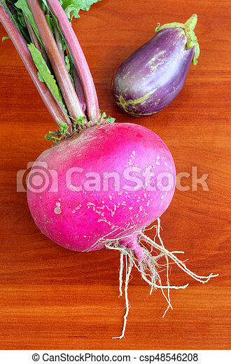 Fresh vegetables on wooden background - csp48546208