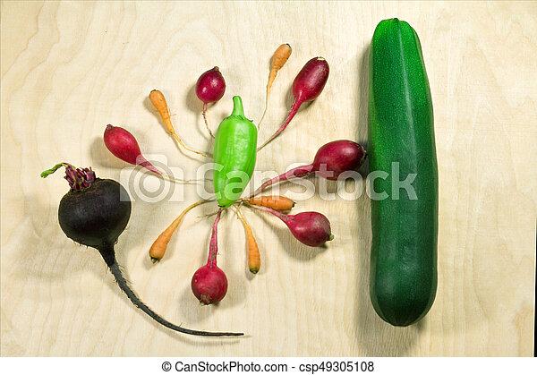 Fresh vegetables on wooden background - csp49305108