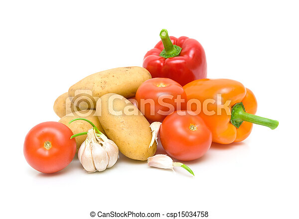 fresh vegetables. potatoes, tomatoes, peppers and garlic on a white background close-up. horizontal photo. - csp15034758